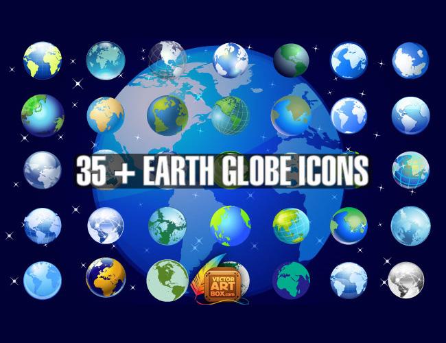 35 Iconos del Globo Terraqueo