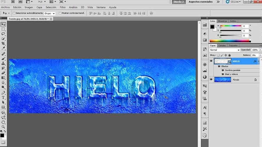 Crear un efecto de texto de hielo en Photoshop