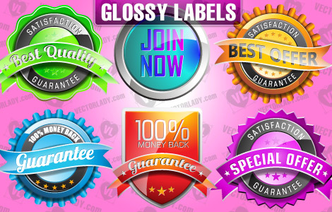 Vectores de etiquetas brillantes (Vector glossy labels)