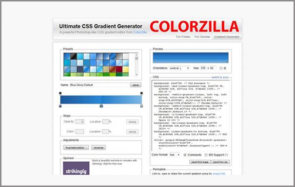 Crear Degradados CSS online con Colorzilla
