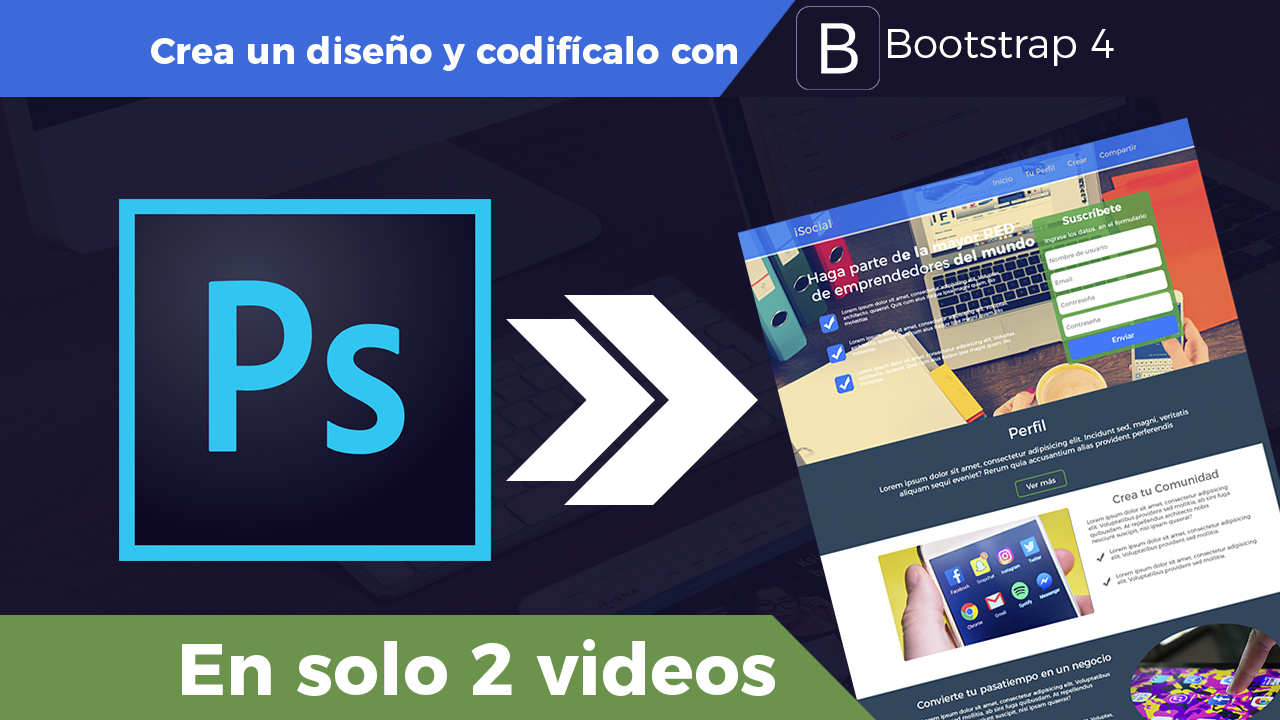 De Photoshop a Bootstrap 4 Parte 2 – Marcado HTML, CSS y Modal